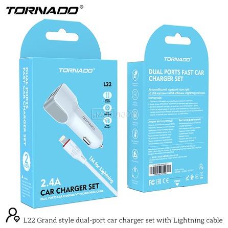 АЗУ 2in1-L TORNADO L22 white (2USB 2.4A) Lightning