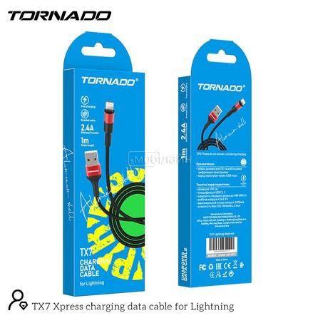 USB-L TORNADO TX7 (2.4A/1m) Lightning black&red