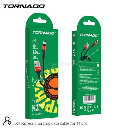 USB-m TORNADO TX7 (2.4A/1m) Micro black&red