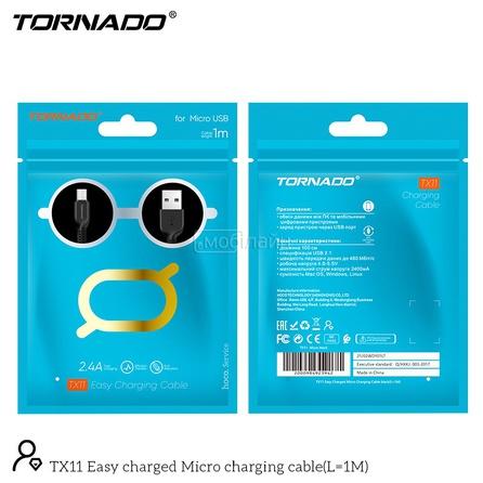 USB-m TORNADO TX11 (2.4A/1m) Micro black