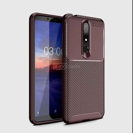 Накладка CARBON Xiaomi Note 10 brown
