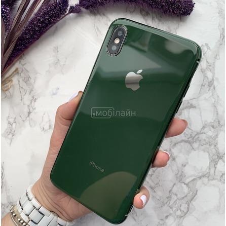 Cиликон GLASS LOGO iPhone XS Max green