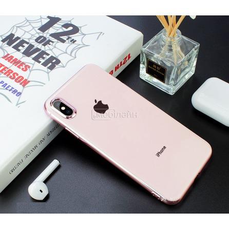 Cиликон GLASS LOGO iPhone XS Max pink