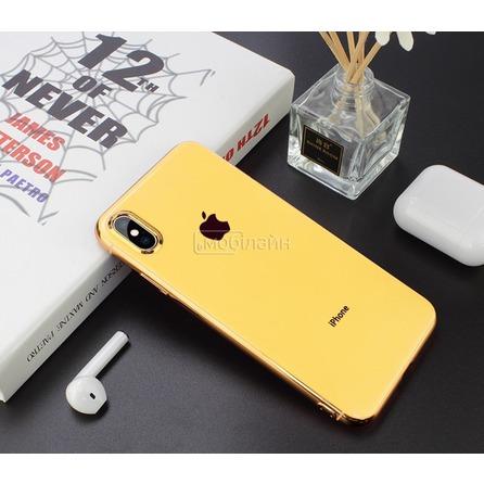 Cиликон GLASS LOGO iPhone XS Max yellow