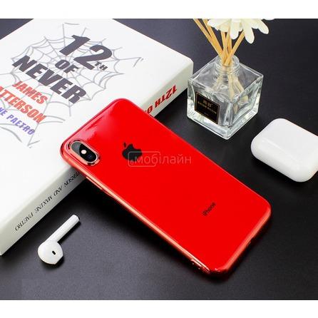 Cиликон GLASS LOGO iPhone XS Max red